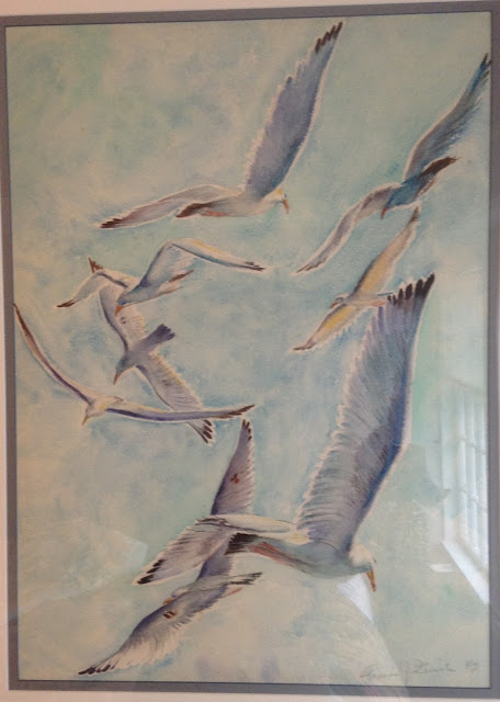 Seagulls Image, Painting of Seagulls, Quirk Art, Quirk Watercolor, Francis Quirk Painting, Francis J. Quirk Watercolor Painting