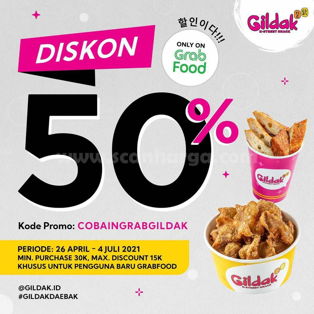 GILDAK Promo DISKON 50% via aplikasi GRABFOOD