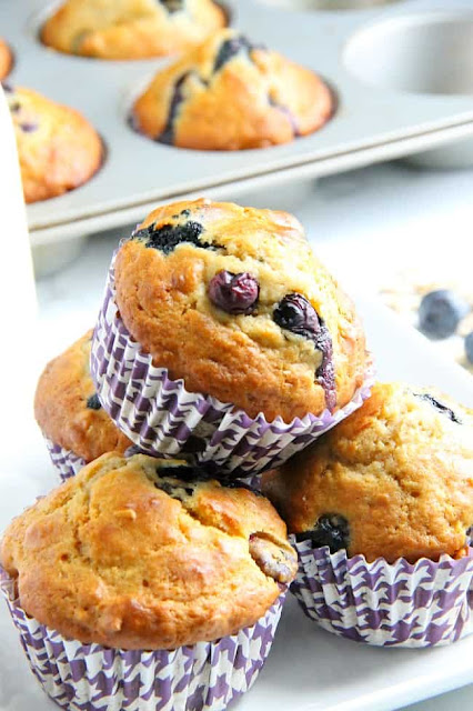 stack of blueberry oatmeal muffins