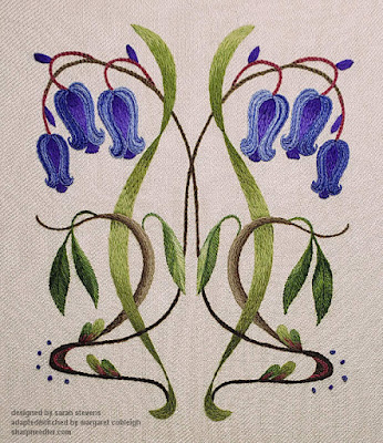 Altnernate view of the completed blubells with better colour on the background linen twill.