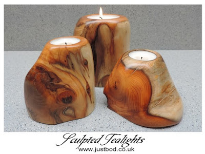 Sculpted Wooden Tea Light Holders