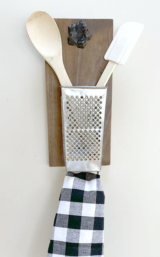 DIY Antique cheese grater kitchen organizer tutorial