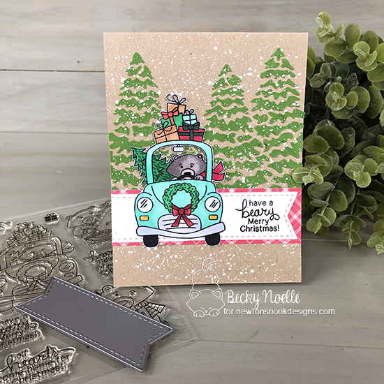 Have a beary Merry Christmas by Becky features Winston's Home for Christmas, Evergreens, and Frame & Flags by Newton's Nook Designs; #newtonsnook
