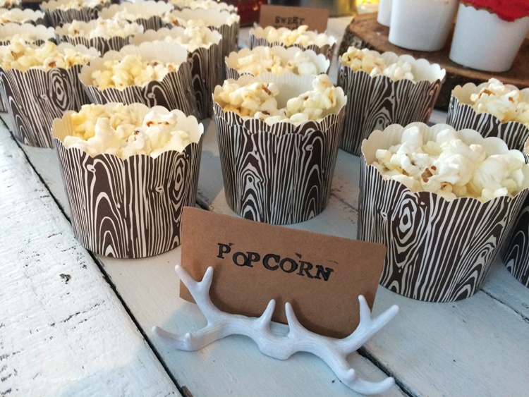 Woodland campfire party - woodgrain popcorn cups