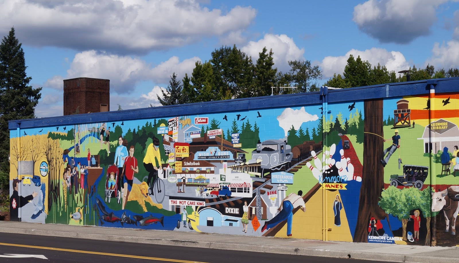 shoreline area news kenmore mural dedicated it covers the entire west facing exterior wall of the st vincent de paul building at 7304 bothell way in kenmore