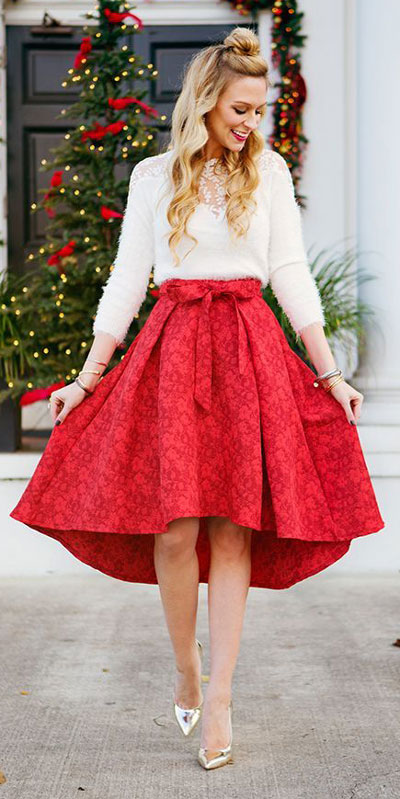 From casual outfits for family reunions to crazy trendy party outfits, we've got your back see these 24 Best Christmas Outfits You Can Shop this Holiday Season. | skirt outfits | #christmas #holiday #newyear #skirt