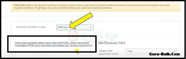 gambar Data Tidak terdaftar dalam Database Dapodik saat melamar PPPK Guru 2021