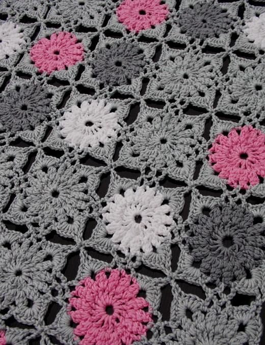 Free Crochet Pattern of A Square Motif Crochet Table Runner