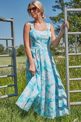 Turquoise floral cotton Midi sundress