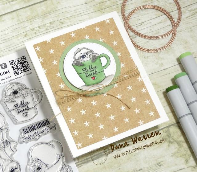 Dana Warren - Kraft Paper Stamps - Art Impressions Coffee Sloth