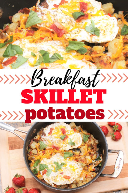 Make these quick and yummy breakfast skillet potatoes for your next holiday breakfast or brunch or family breakfast.