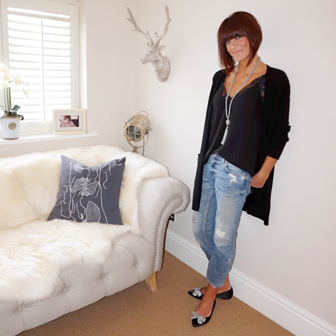 my midlife fashion, marks and spencer pure cashmere longline twin pocket cardigan, zara lace trim camisole, zara distressed cigarette jeans, dune bluebelle shoes
