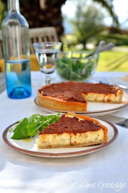 Ricotta-basil-tart-sundried-tomatoes-topping-Ottolenghi