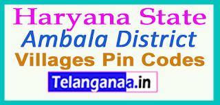 Ambala District Pin Codes in Haryana State