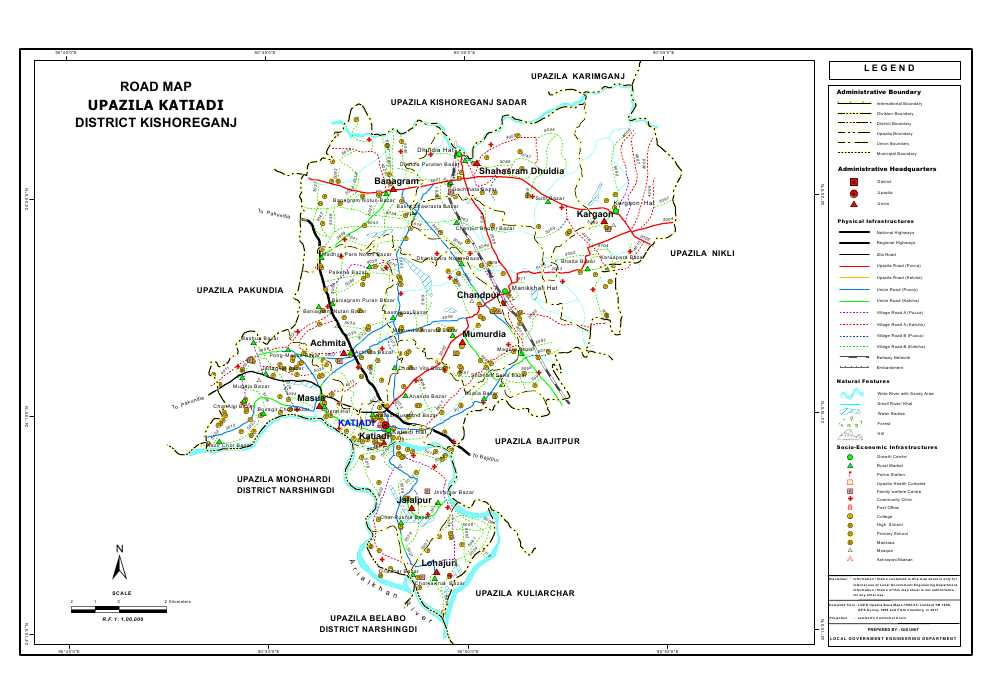 Katiadi Upazila Road Map Kishoreganj District Bangladesh