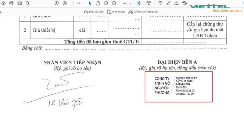 Hình 17 - Ký điện tử thành công bằng chữ ký số Viettel-CA