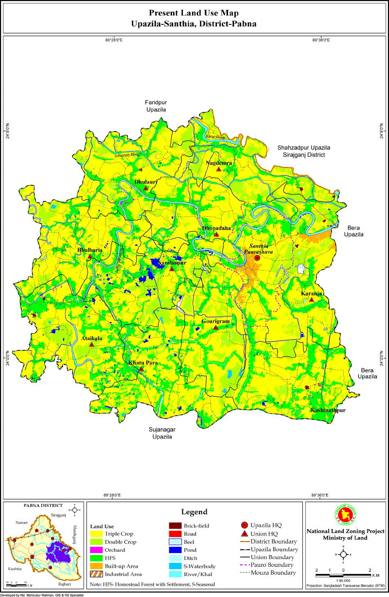 Santhia Upazila Mouza Map Pabna District Bangladesh