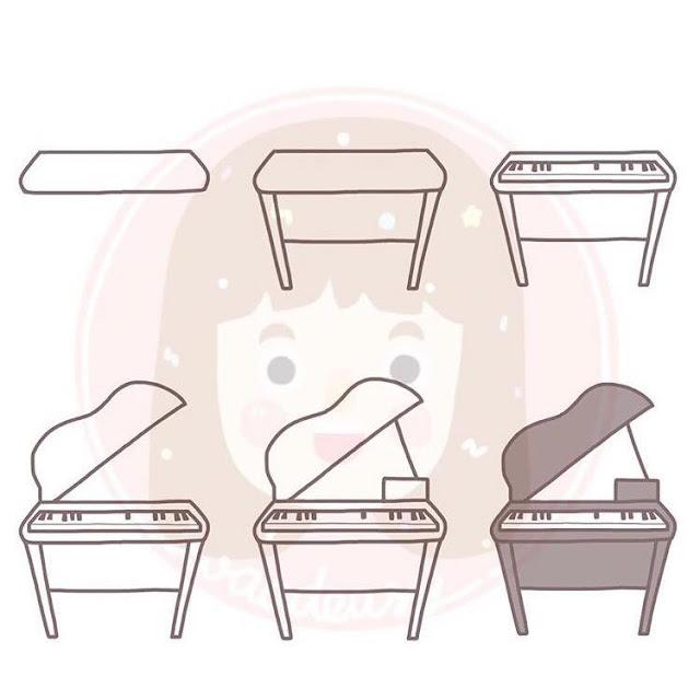 Cara menggambar piano untuk anak-anak