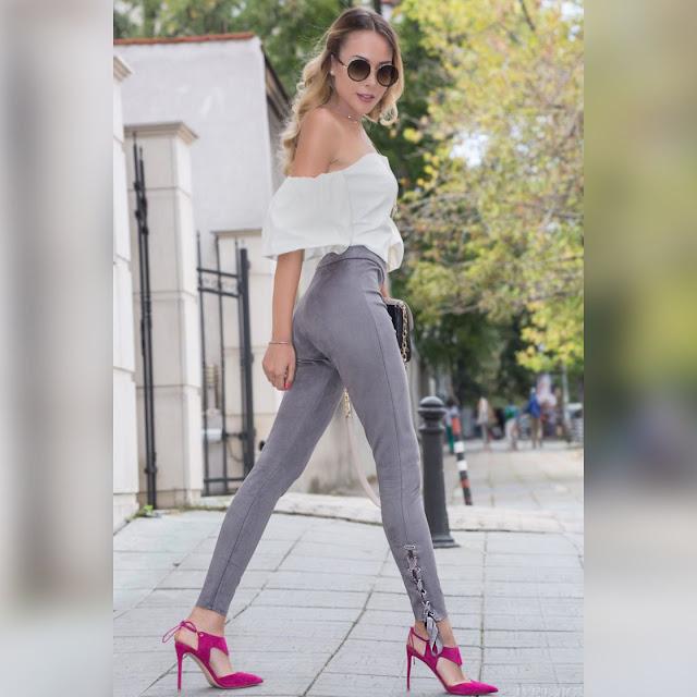 Ψηλόμεσο γυναικείο γκρι παντελόνι RIYA