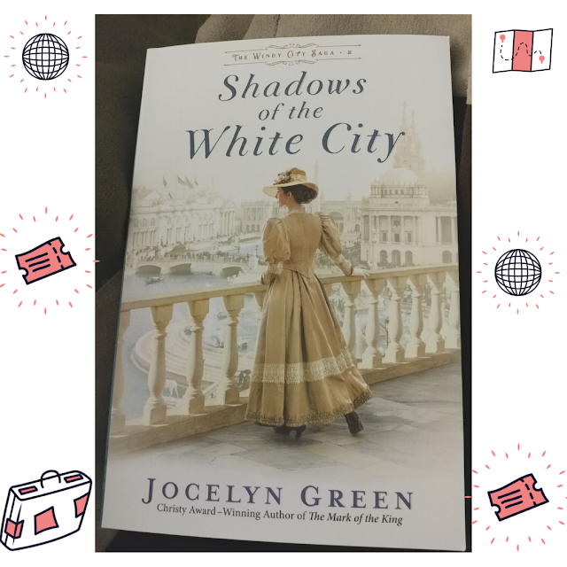book cover of Shadows of the White City; travel clipart