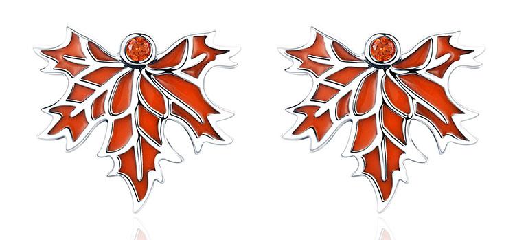 楓紅 925純銀耳環