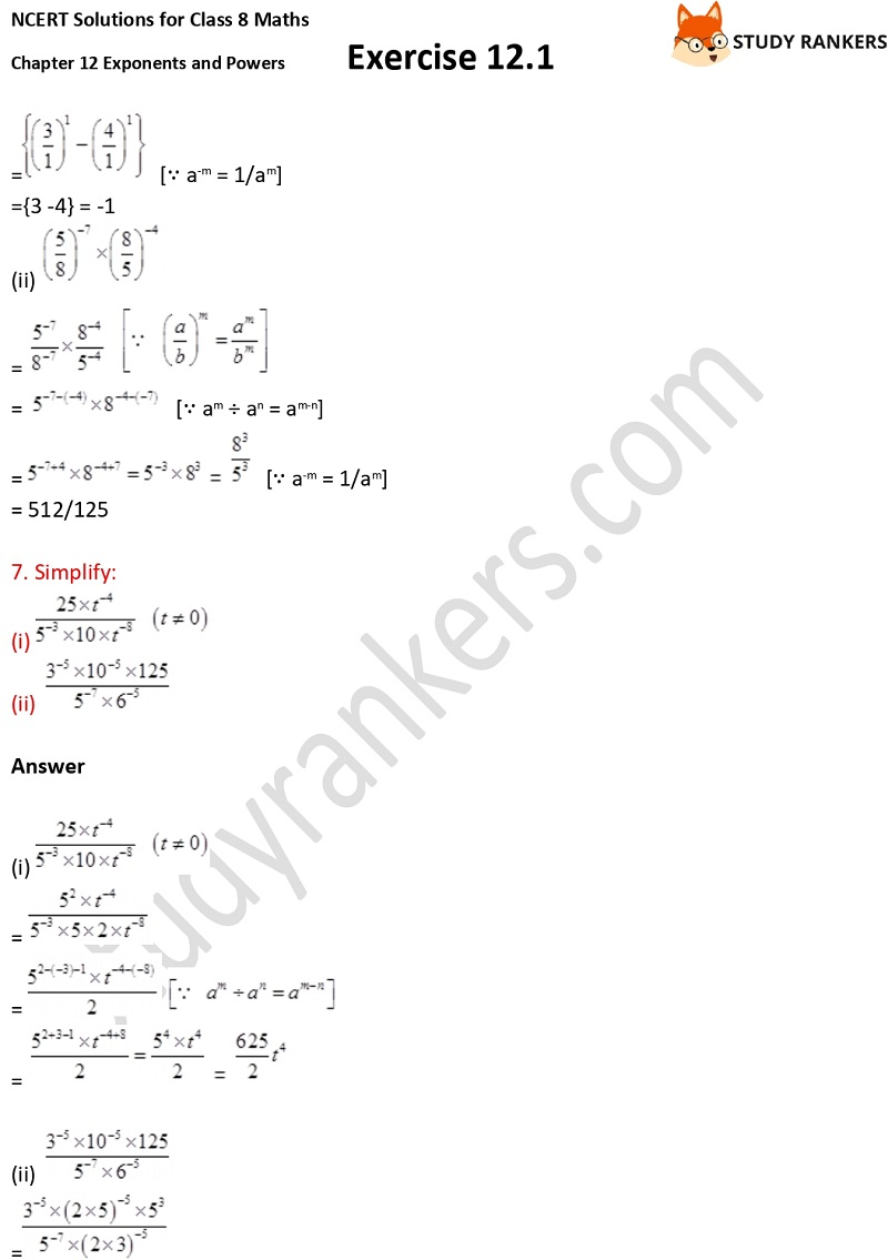 NCERT Solutions for Class 8 Maths Ch 12 Exponents and Powers Exercise 12.1 5