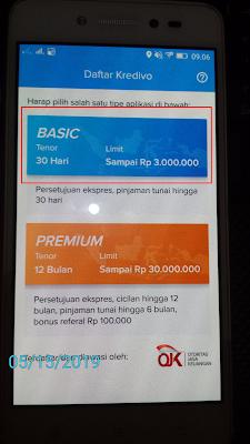 cara daftar akun basic pada aplikasi kredivo android