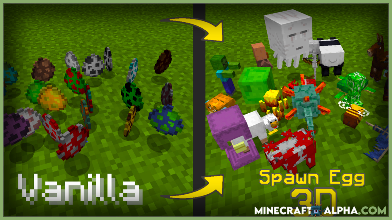 3D Spawn Eggs Resource Pack 1.17.1