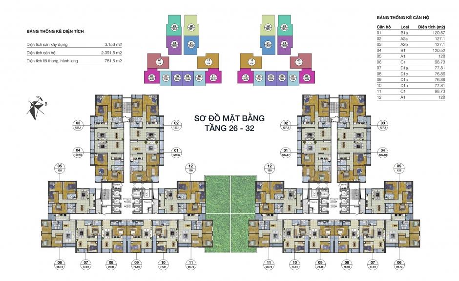 Mặt bằng tầng 26-32 dự án Goldsilk Complex