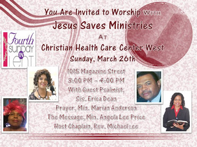 Join Jesus Saves Ministries at Christian Health Care Center West March 26th