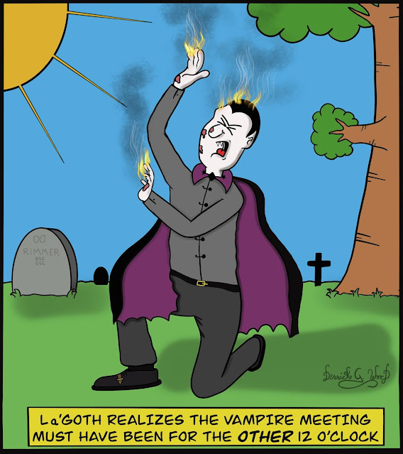 a comic vampire is burning in the daylight realizing his meeting was at midnight not noon