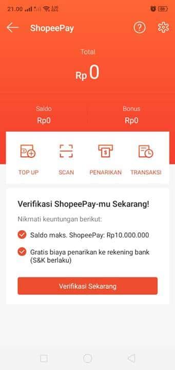 Verifikasi ShopeePay