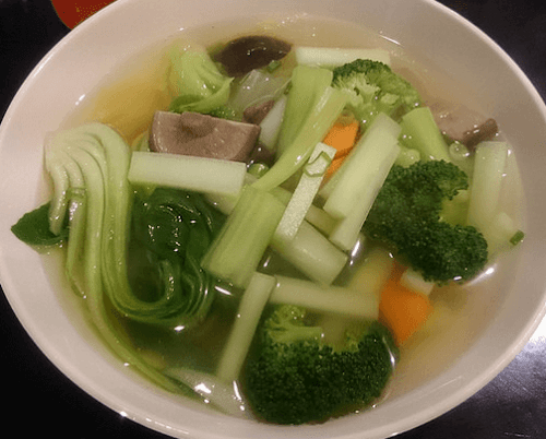 Bok Choy, Broccoli, and Mushroom Clear Soup