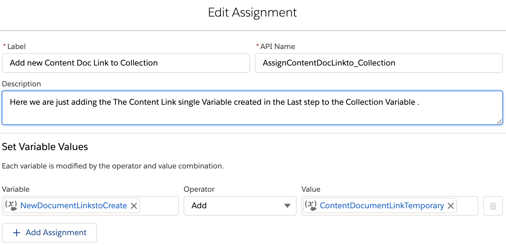 Assignment Element in a Flow