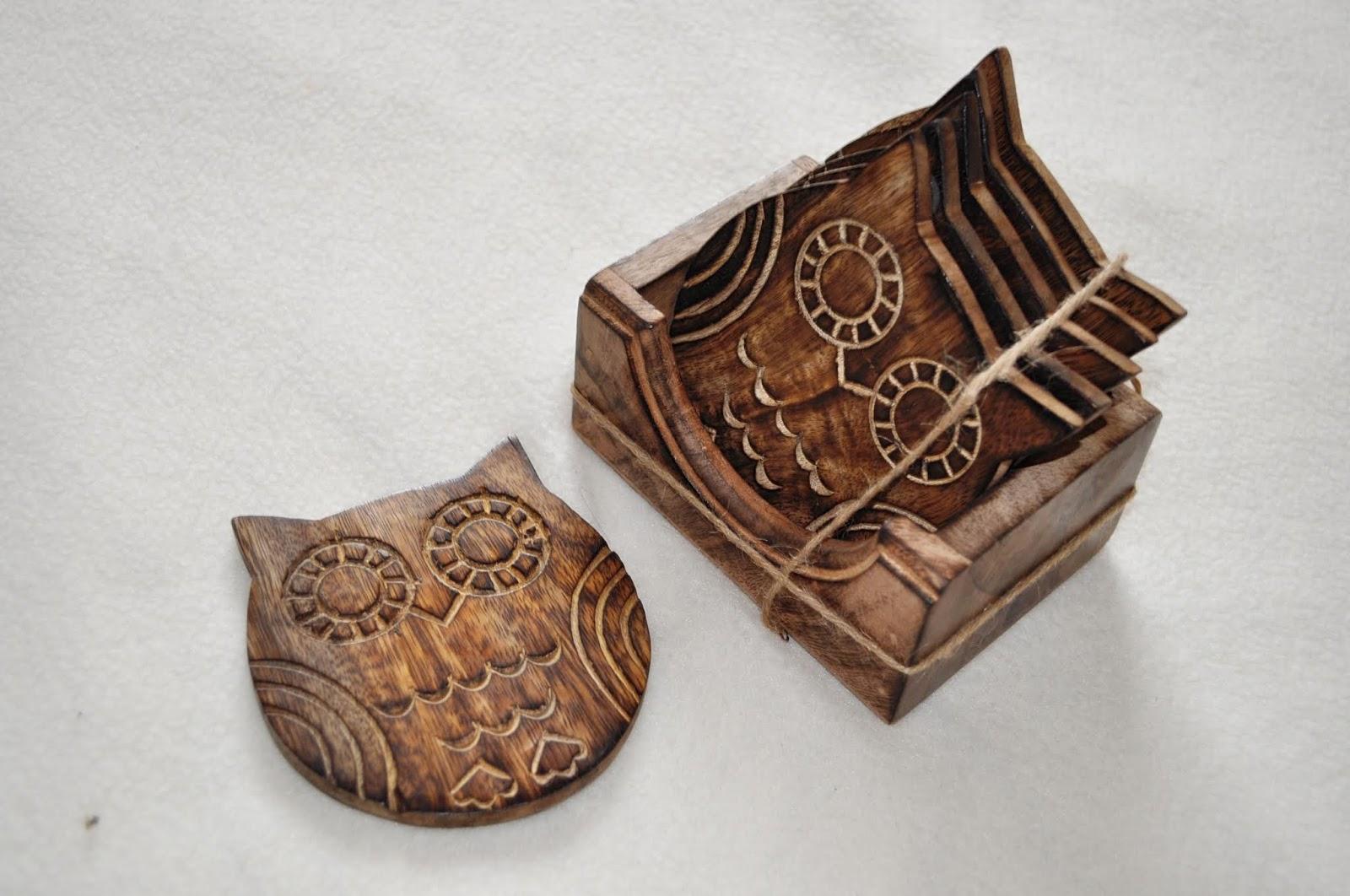 Drewniane podkładki pod kubek