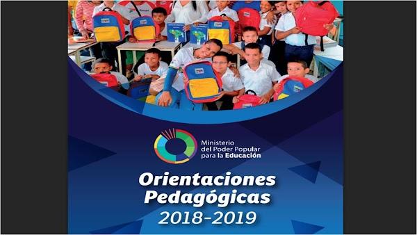 ORIENTACIONES PEDAGÓGICAS AÑO ESCOLAR 2018 -2019 MPPE