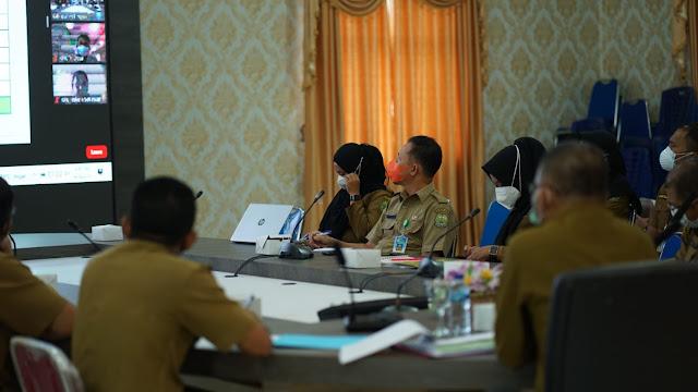 Bupati Lingga Menghadiri Rapat Monitoring dan Evaluasi MCP dari KPK
