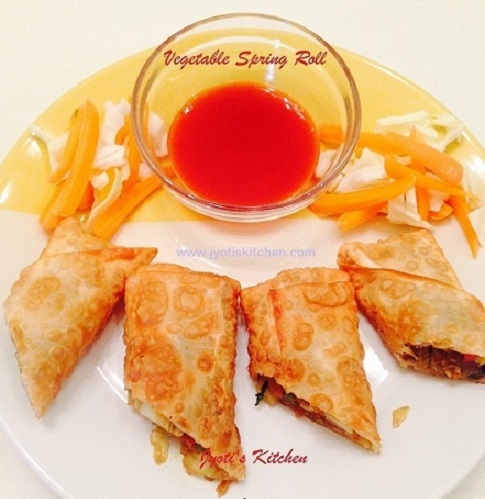 Vegetable Spring Roll Recipe with step by step photo
