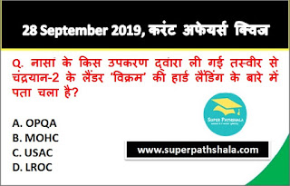Daily Current Affairs Quiz 28 September 2019 in Hindi