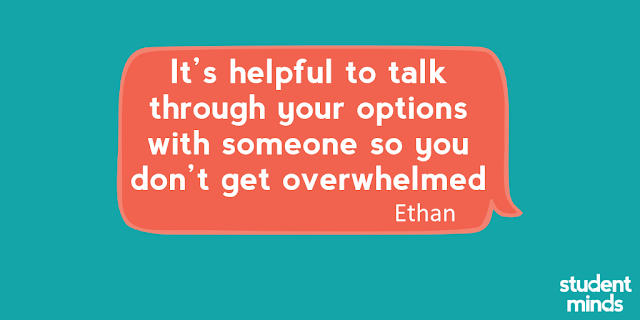 'It's helpful to talk through your options with someone so you don't get overwhelmed' - Ethan
