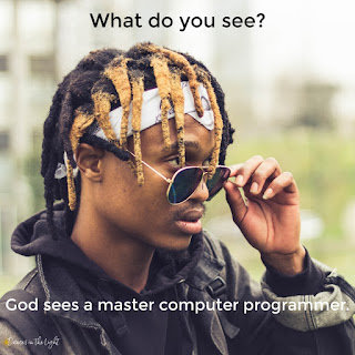 Young black man with dreadlocks. Caption says What do you see? God sees a master computer programmer.