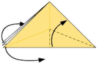 Bước 13: Gấp tại vị trí nét đứt và kéo 2 lớp giấy từ trái sang phải