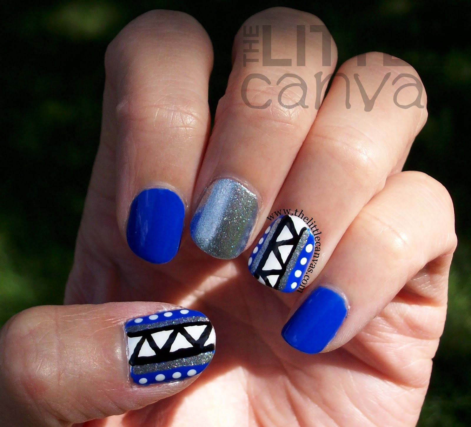 Tribal Nail Art: Blue Tribal-Ish Nails And Nail Art Society Re-Launch
