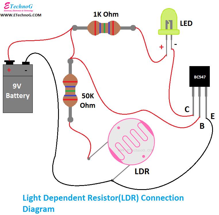 LDR Connection Diagram, connection of LDR, LDR Circuit