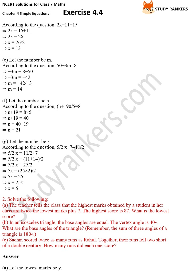 NCERT Solutions for Class 7 Maths Ch 4 Simple Equations Exercise 4.4 2