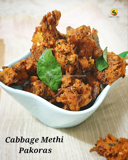 Deep fried snack prepared by mixing fenugreek, cabbage with gram flour and spices.  Pakoras are a winter or rainy special snack loved by all.