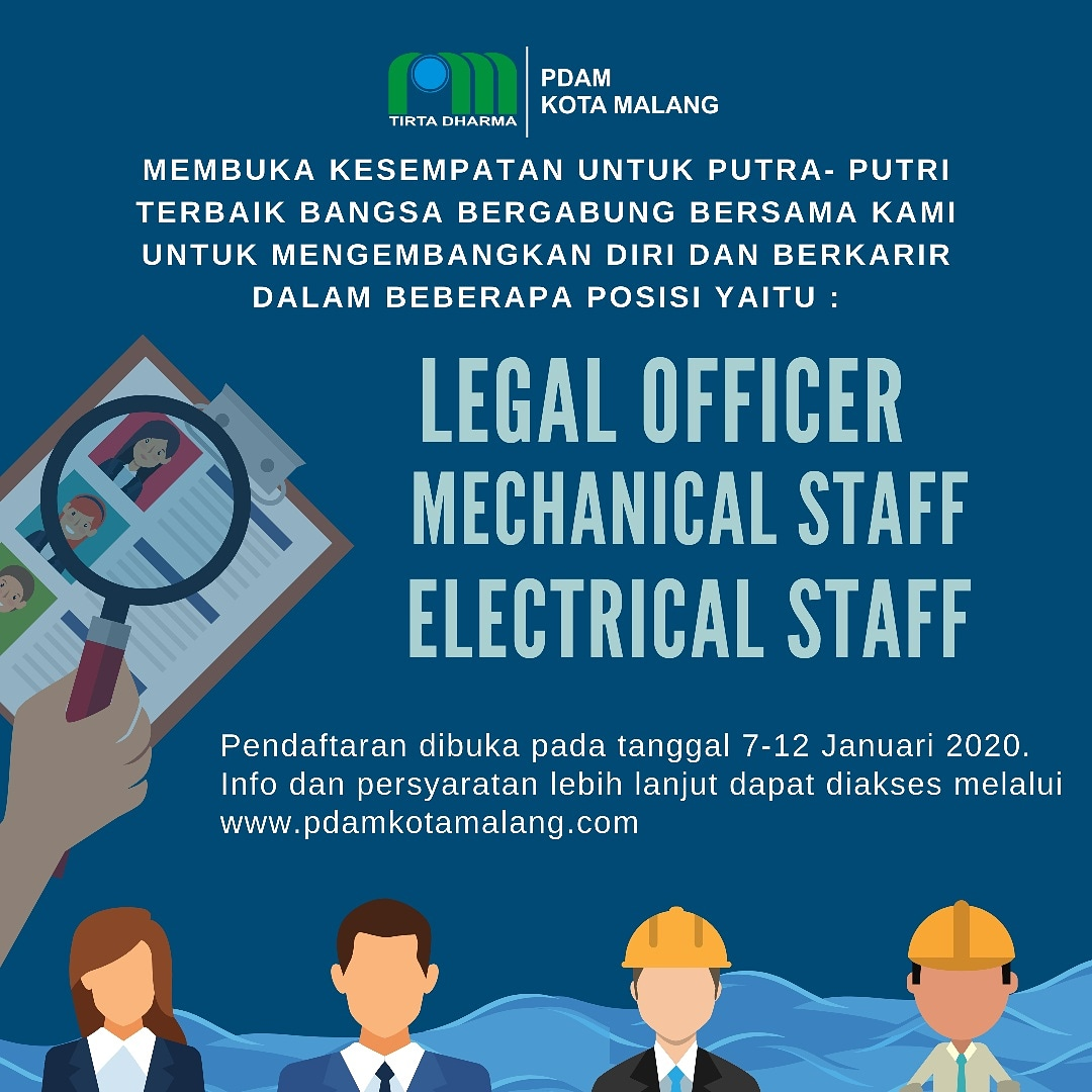 Lowongan Kerja Pegawai PDAM Kota Malang Tingkat D3 S1 Bulan Januari 2020