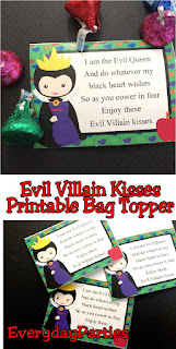 Celebrate Halloween with the Evil Queen and some other vicious villains with this Evil Villain printable bag topper.  This is a perfect party favor for your Disney Villain or Descendants party or just as a yummy treat to give to your Trick or Treat kids.