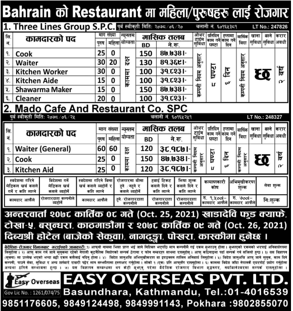 Jobs in Bahrain for Nepali, salary up to NRs 47,734