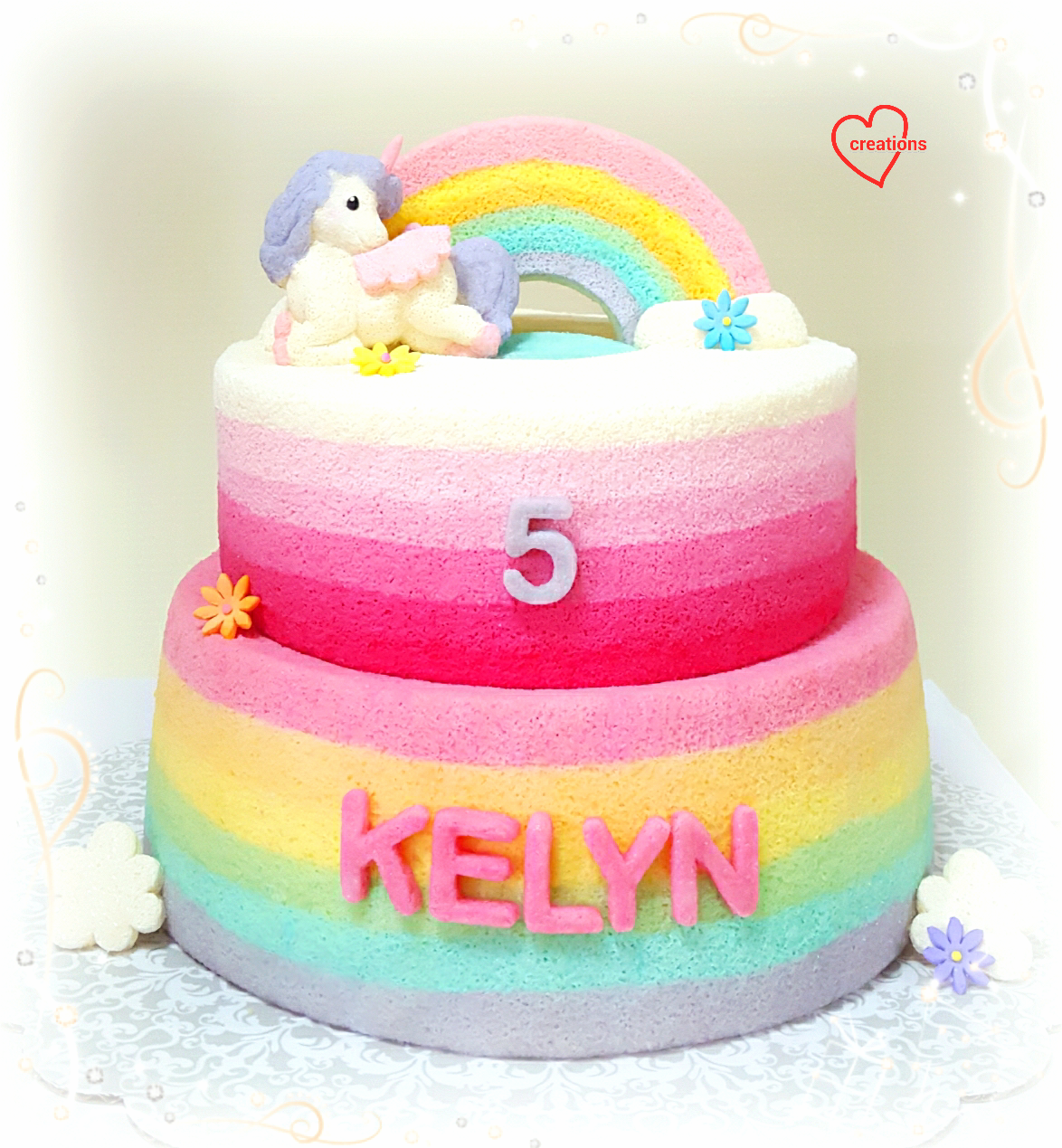 This Is A Sweet Dreamy Creation Combining Pink Ombre Chiffon Cake With Rainbow Topped By And Unicorn